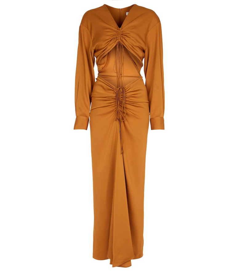 CHRISTOPHER ESBER Ruched cutout maxi dress in brown
