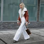 jacket,aviator jacket,brown jacket,leather jacket,acne studios,heel boots,plaid,balenciaga,white pants,wide-leg pants,louis vuitton bag,turtleneck sweater,cropped turtleneck
