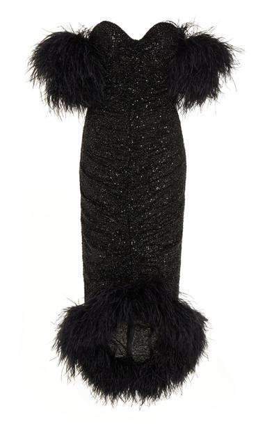 Nervi Luna Feather-Trimmed Sequined Chiffon Midi Dress Size: 38 in black