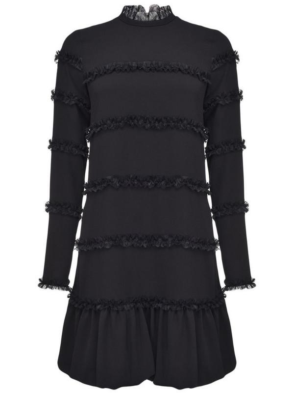 Pinko ruffle-trim mock-neck dress in black