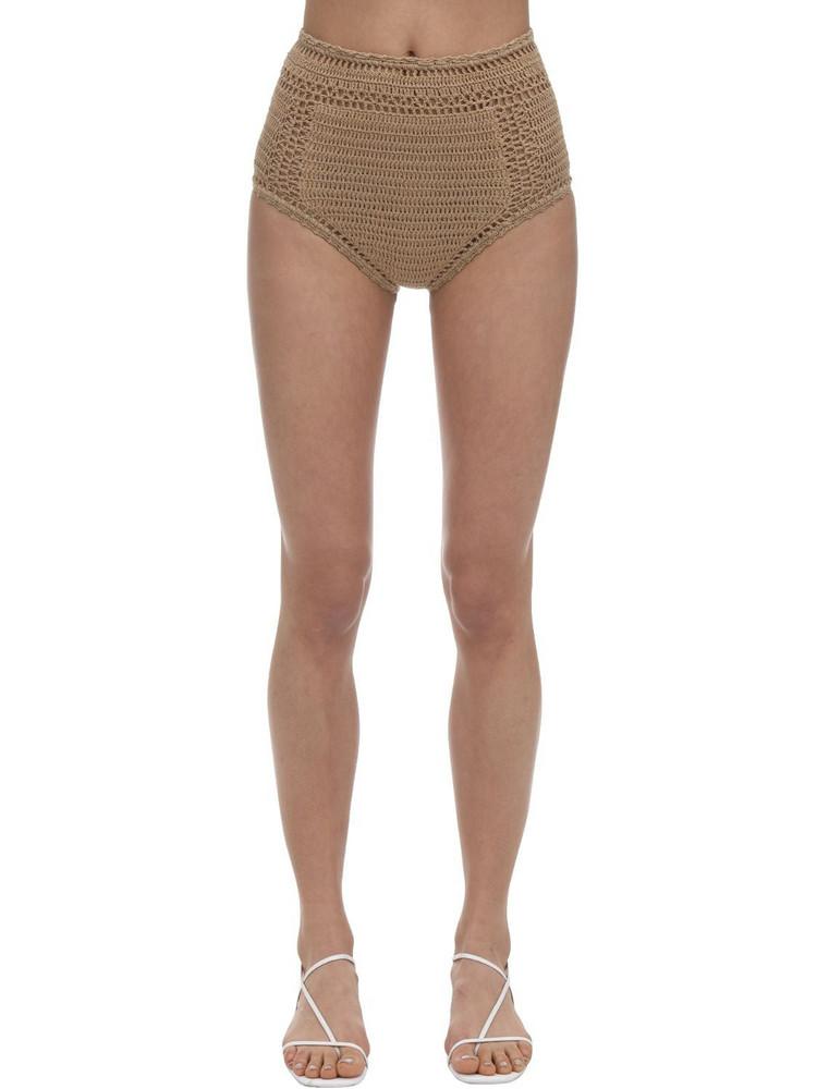 SHE MADE ME High Waist Crochet Bikini Bottoms in sand