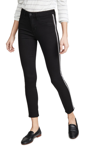L'AGENCE Margot High Rise Skinny Jeans with Taping in noir