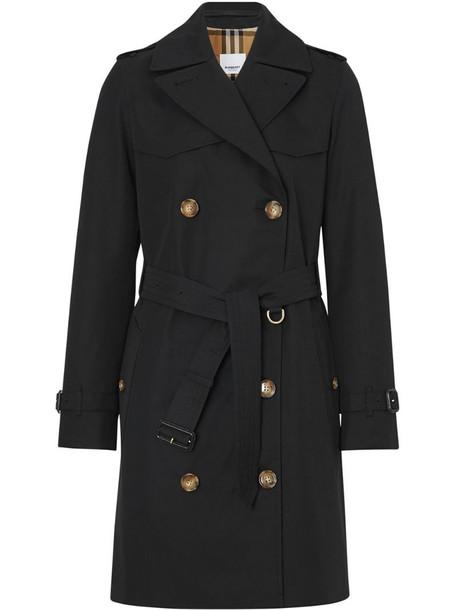 Burberry Cotton Gabardine Trench Coat in black