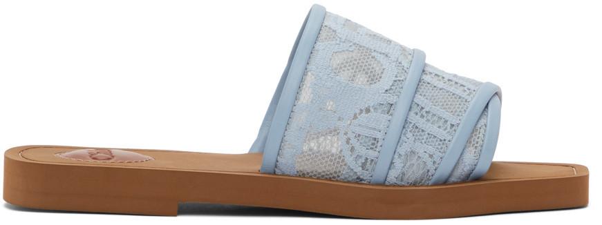 Chloé Chloé Blue Lace Woody Flat Mules