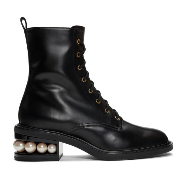 Nicholas Kirkwood Black Casati Pearl 35 Combat Boots
