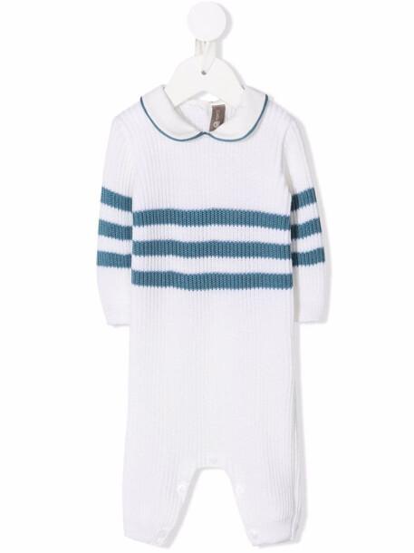 Little Bear stripe-print virgin-wool romper - White