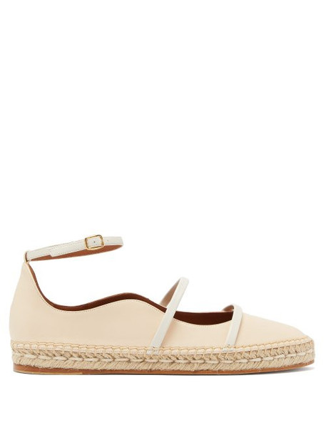 Malone Souliers - Selina Waved Edge Leather Espadrilles - Womens - Cream