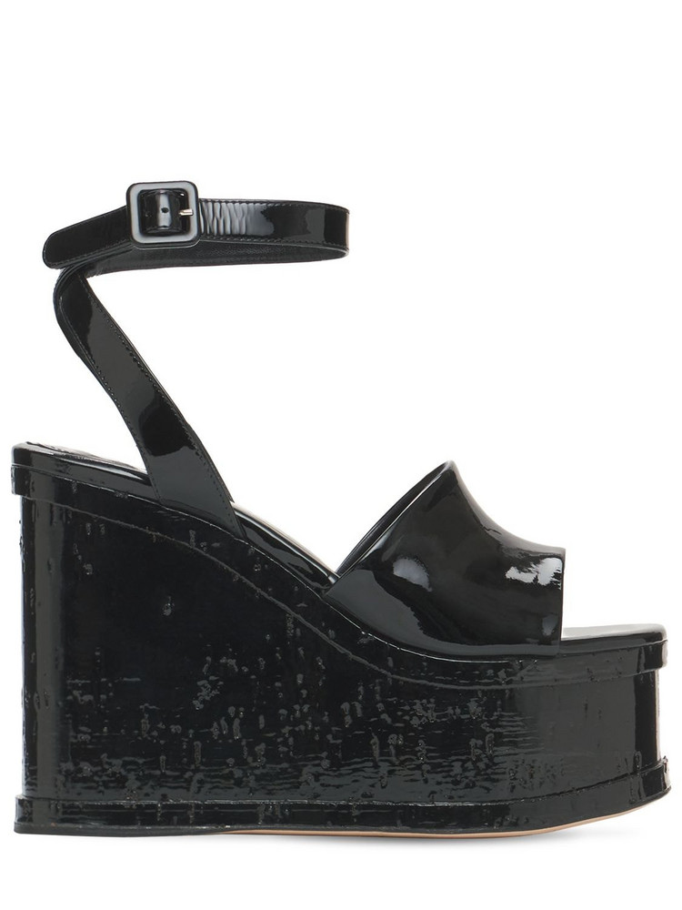 HAUS OF HONEY 125mm Lacquer Doll Patent Leather Wedges in black