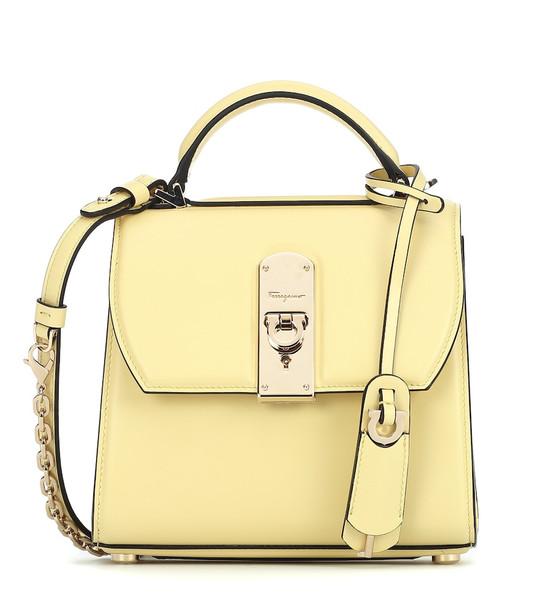 Salvatore Ferragamo Boxyz Small leather tote in yellow
