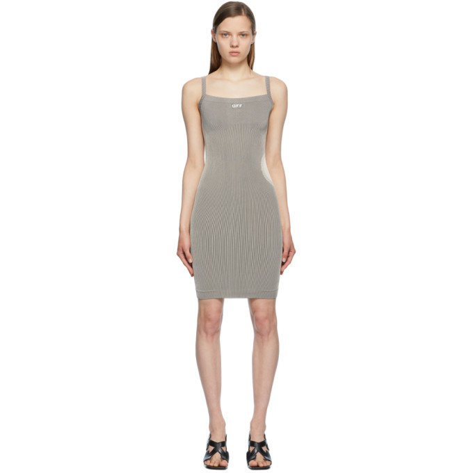 Off-White Beige and Black Meteor Seamless Dress in grey