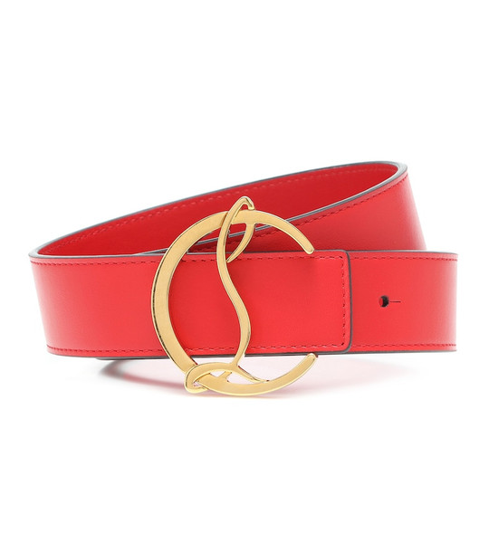 Christian Louboutin CL Logo leather belt in red