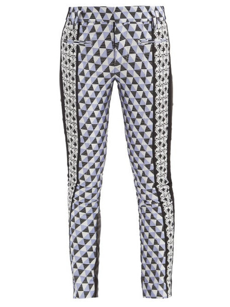 Haider Ackermann - Triangle-check Jacquard And Leather Trousers - Womens - Multi