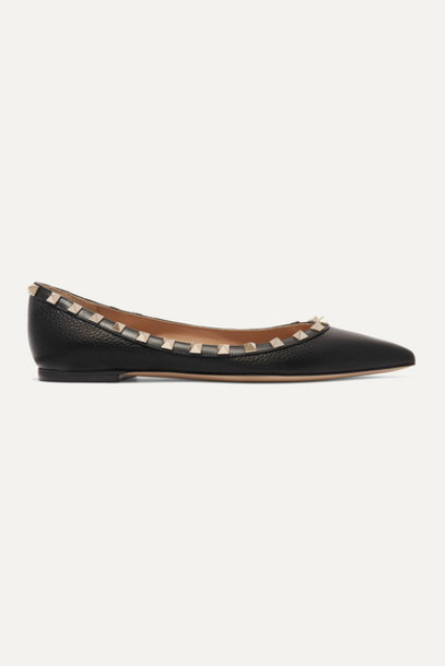 Valentino - Valentino Garavani The Rockstud Textured-leather Point-toe Flats - Black