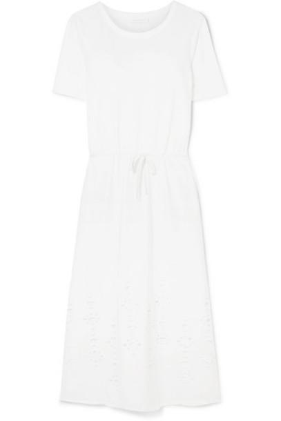 See By Chloé See By Chloé - Cutout Cotton-jersey Midi Dress - White