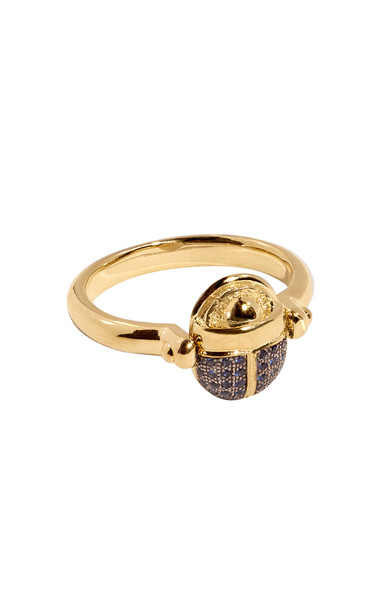 Pamela Love Rotating 18kt Yellow-Gold and Blue Sapphire Scarab Ring