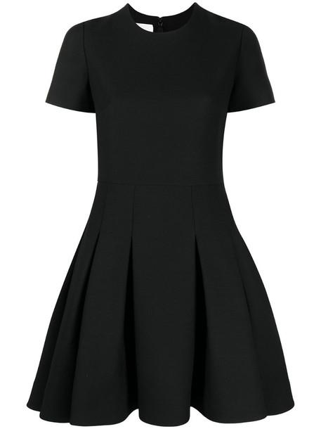 Valentino pleated flared mini dress in black