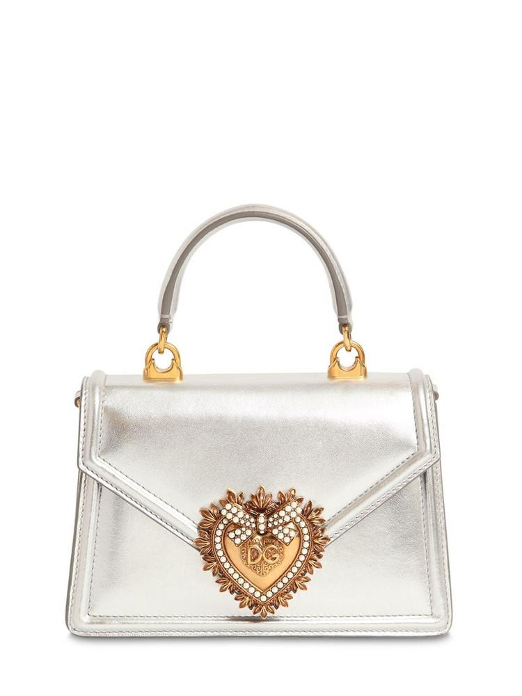DOLCE & GABBANA Mini Devotion Laminated Leather Bag in silver