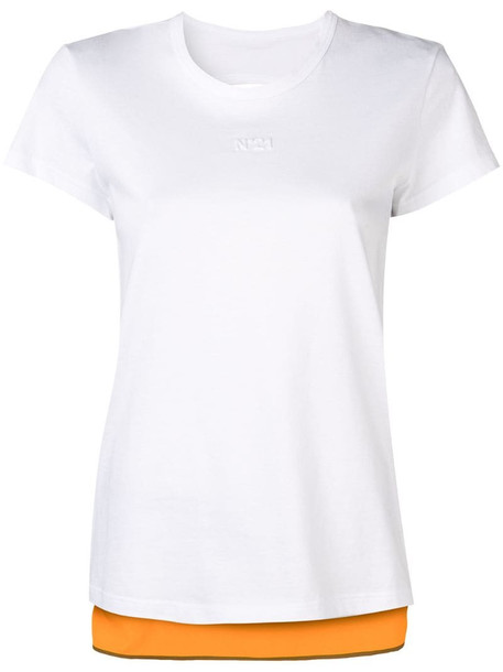 Nº21 contrast back T-shirt in white