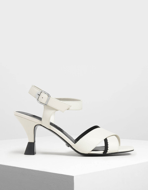 Leather Criss Cross Sculptural Heels in white