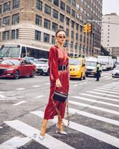 dress,sequin dress,red dress,long sleeve dress,slit dress,black belt,black bag,slingbacks,silver shoes