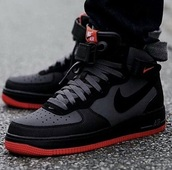 shoes,nike shoes,black,red,red and black,red and black jordans