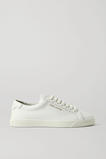 SAINT LAURENT - Andy Logo-print Leather Sneakers - White