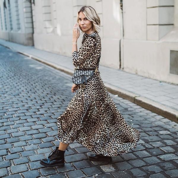 dress midi dress long sleeve dress leopard print black boots DrMartens dior bag