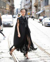 coat,black coat,prada,black sandals,fringes,black skirt,shirt