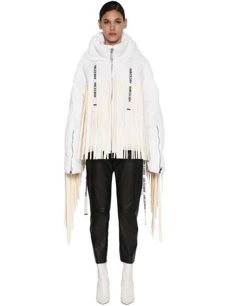 KHRISJOY Fringed Zip-up Down Jacket in white