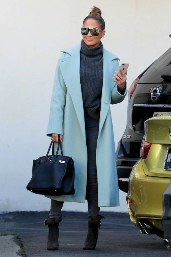 coat light blue celebrity fall outfits jennifer lopez