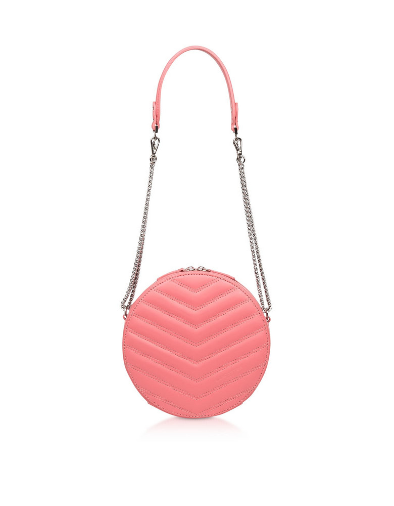 Lancaster Paris Parisienne Quilted Leather Round Crossbody Bag in blush