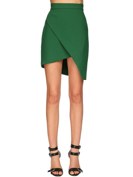 ELIE SAAB Asymmetrical Crepe Mini Skirt in green