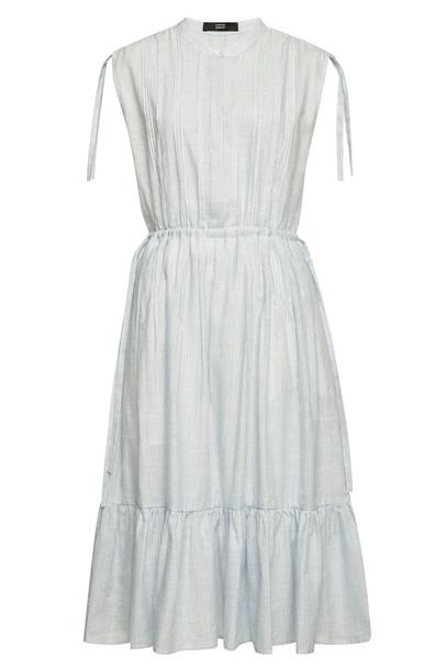 Steffen Schraut Striped Midi Dress in Cotton and Linen  in blue
