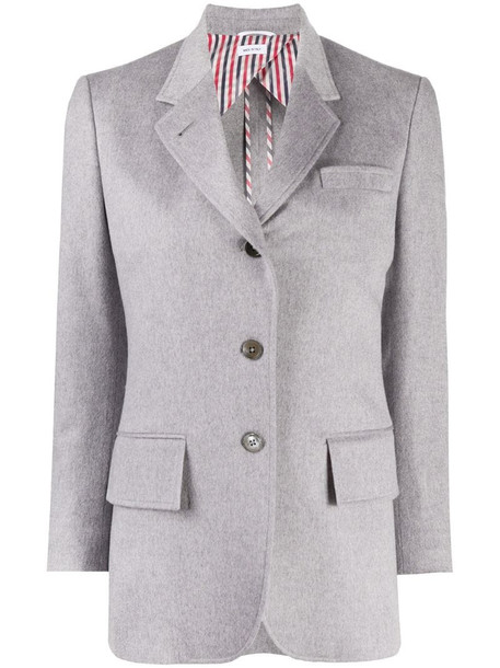 Thom Browne wide lapel cashmere jacket in grey