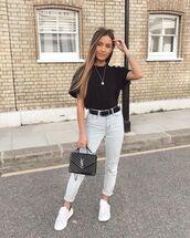 jeans,high waisted jeans,white sneakers,ysl bag,black bag,black belt,black t-shirt