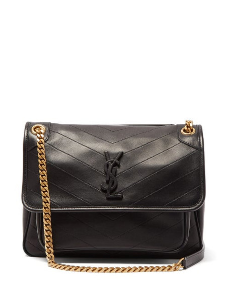 Saint Laurent - Niki Medium Chevron-quilted Leather Shoulder Bag - Womens - Black