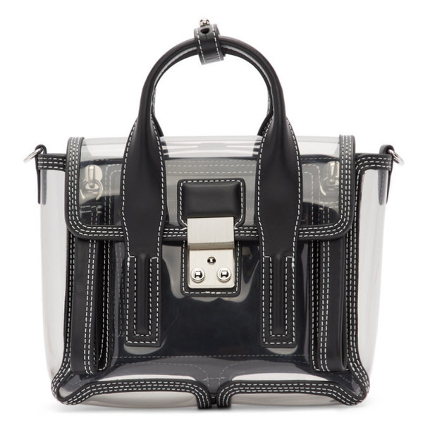 3.1 Phillip Lim Black and Transparent Mini Pashli Satchel