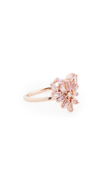 Suzanne Kalan 18k Rose Gold Fireworks Small Rounded Pink Sapphire Heart Ring