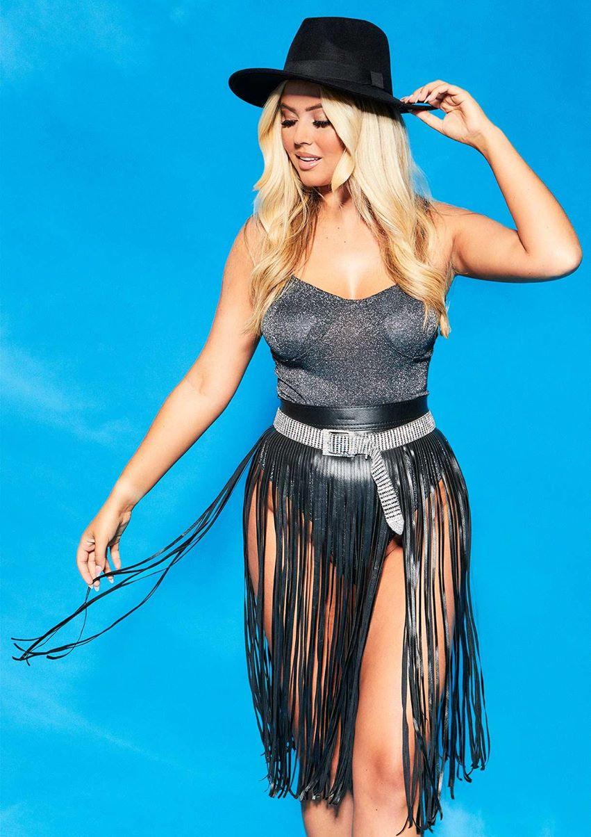 Iris Black Faux Leather Tassel Belt Skirt