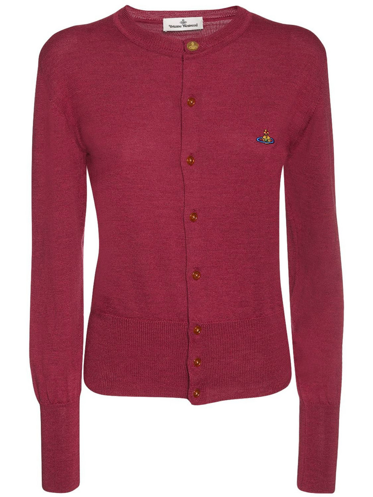 VIVIENNE WESTWOOD Knit Wool Cardigan W/ Logo Embroidery in red
