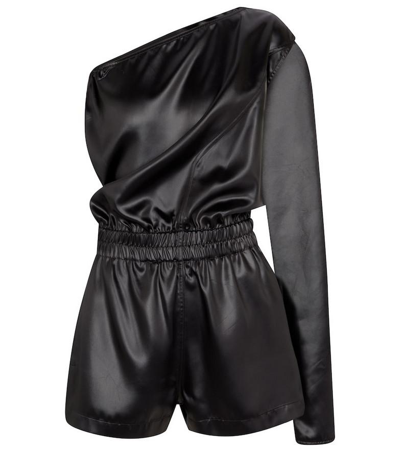 Rick Owens Satin one-shoulder playsuit in black