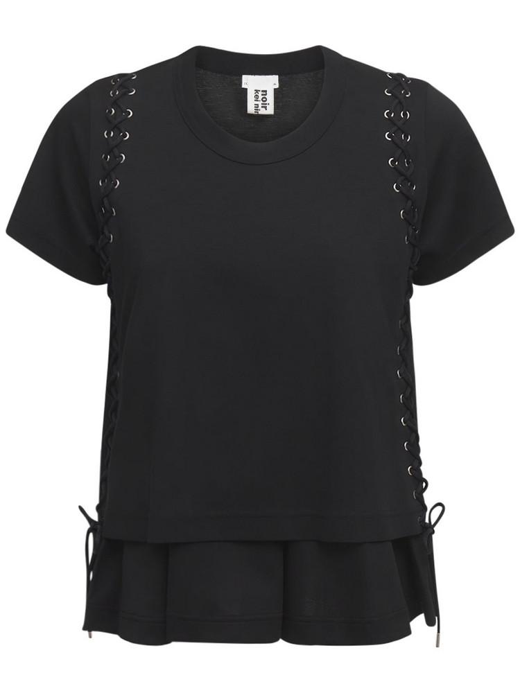 NOIR KEI NINOMIYA Cotton Jersey T-shirt W/ Lace-up Details in black