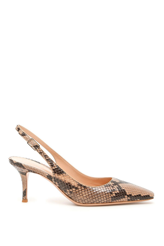Gianvito Rossi Exotic Esther Python Slingbacks in beige