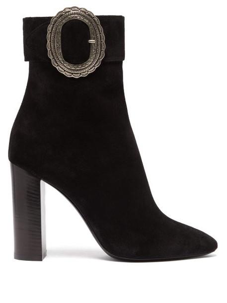 Saint Laurent - Joplin Western Suede Boots - Womens - Black