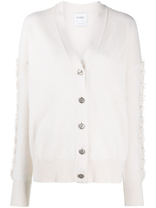 Barrie thistle-knit sleeve cashmere cardigan in neutrals