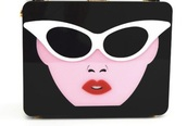 bag,face,black,glasses,clutch,white