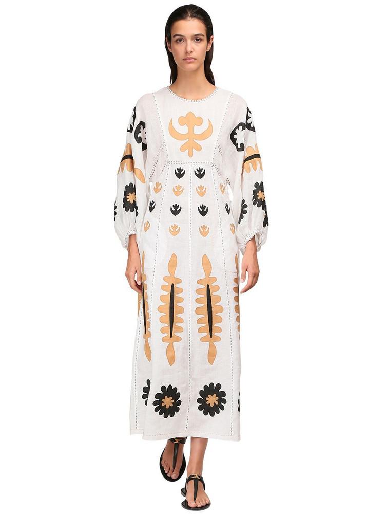 VITA KIN Printed Linen Midi Dress in white / multi