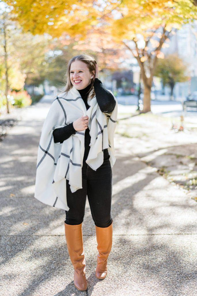 somethinggood blogger scarf sweater jeans shoes celebrity fall outfits knee high boots turtleneck sweater