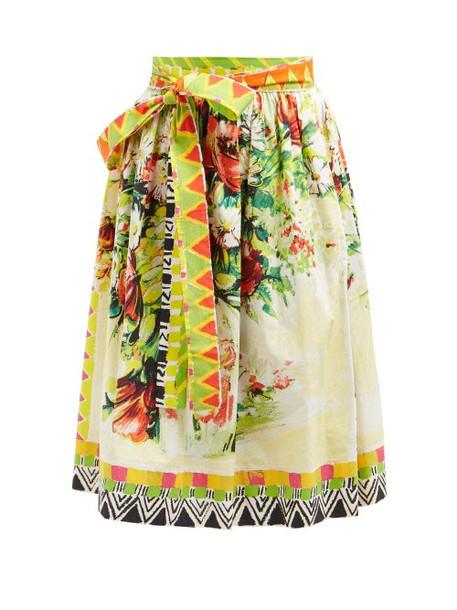 Prada - Floral Print Cotton Poplin Midi Skirt - Womens - Yellow Multi
