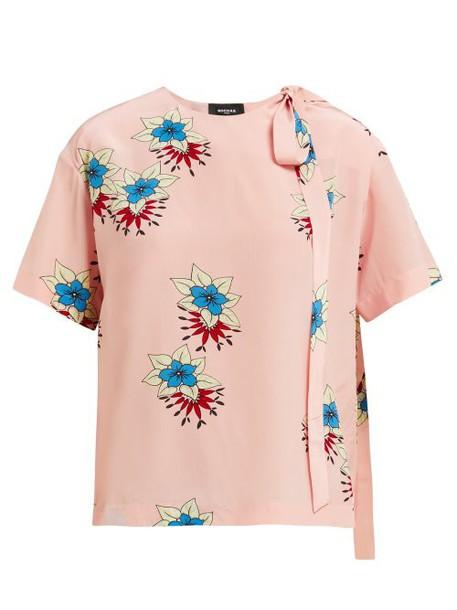 Rochas - Floral Print Silk Crepe De Chine Blouse - Womens - Pink Multi